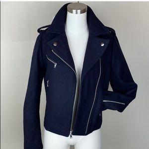 GAP Navy Moto Wool Jacket